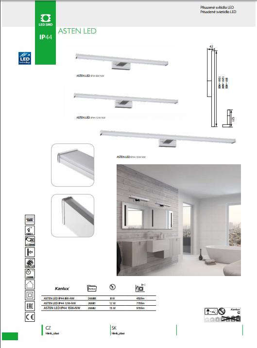 572b3a793 ... Obrázok pre Kanlux Kúpelňové Svietidlo na zrkadlo ASTEN 15W/970lm ,  IP44 , 900mm ...